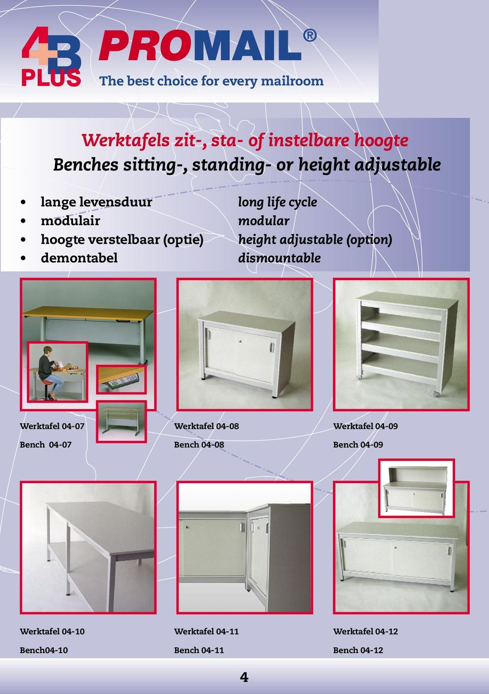 (option) demontabel dismountable Werktafel 04-07 Werktafel 04-08 Werktafel 04-09 Bench 04-07
