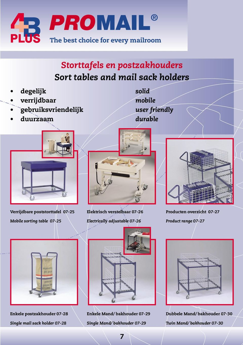 Mobile sorting table 07-25 Electrically adjustable 07-26 Product range 07-27 Enkele postzakhouder 07-28 Enkele Mand/