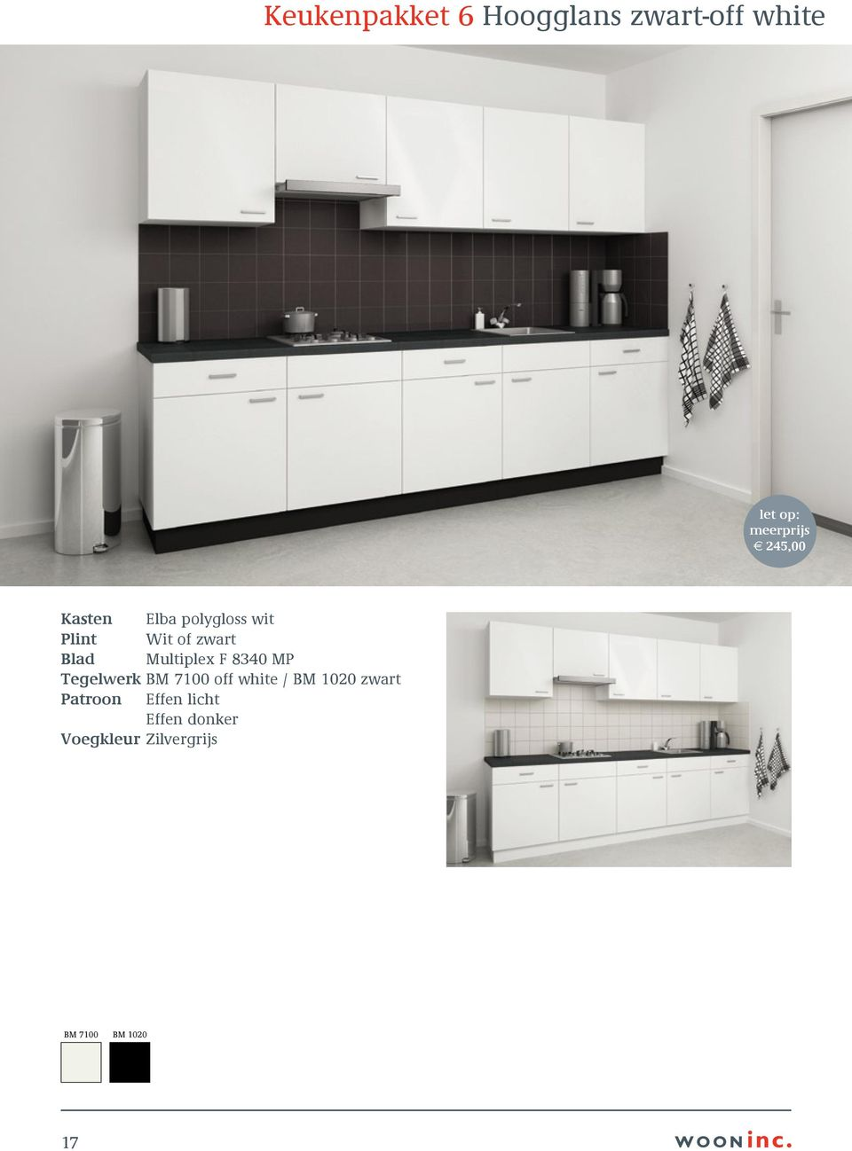 Multiplex F 8340 MP Tegelwerk BM 7100 off white / BM 1020 zwart