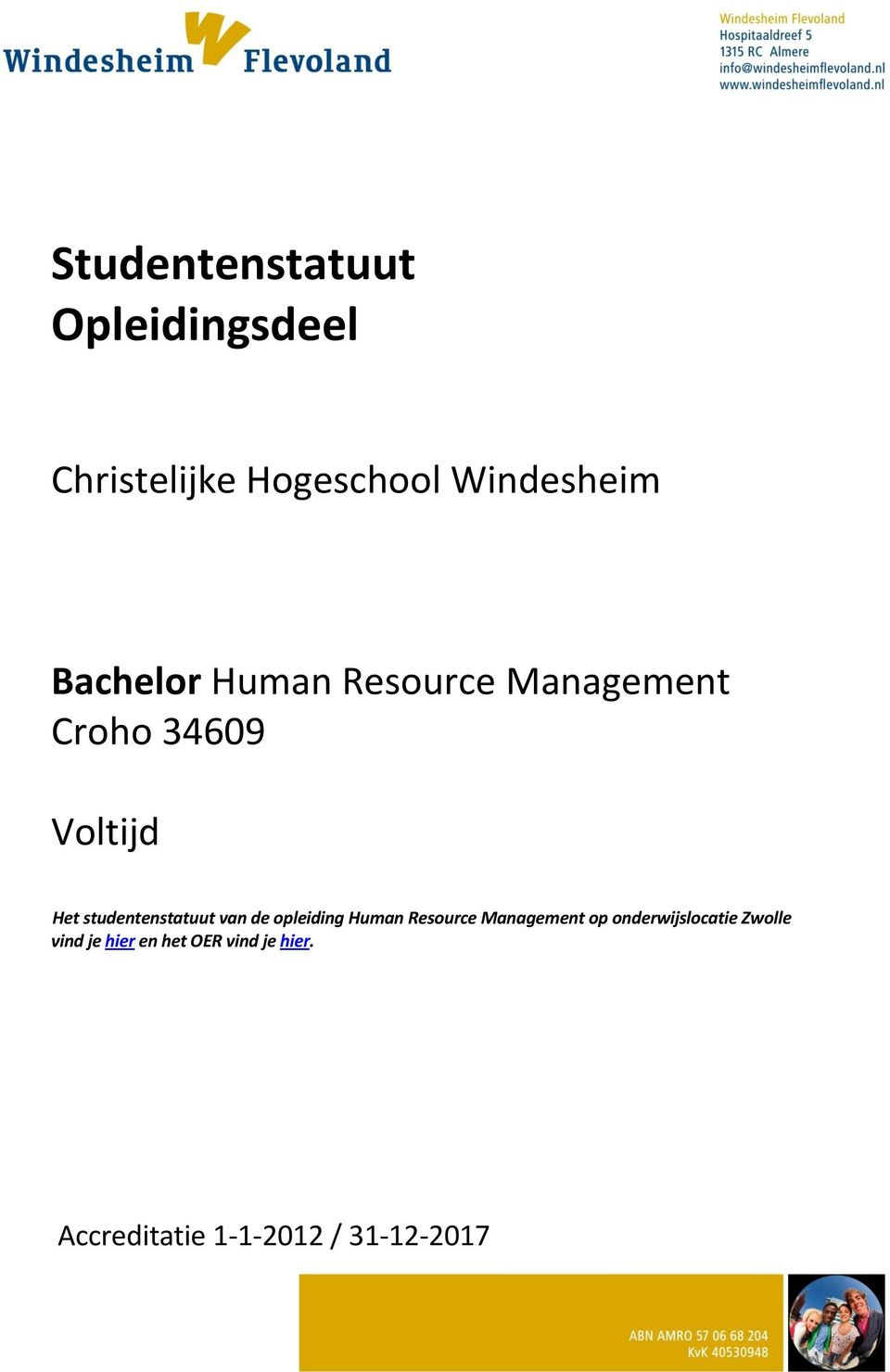 studentenstatuut van de opleiding Human Resource Management op