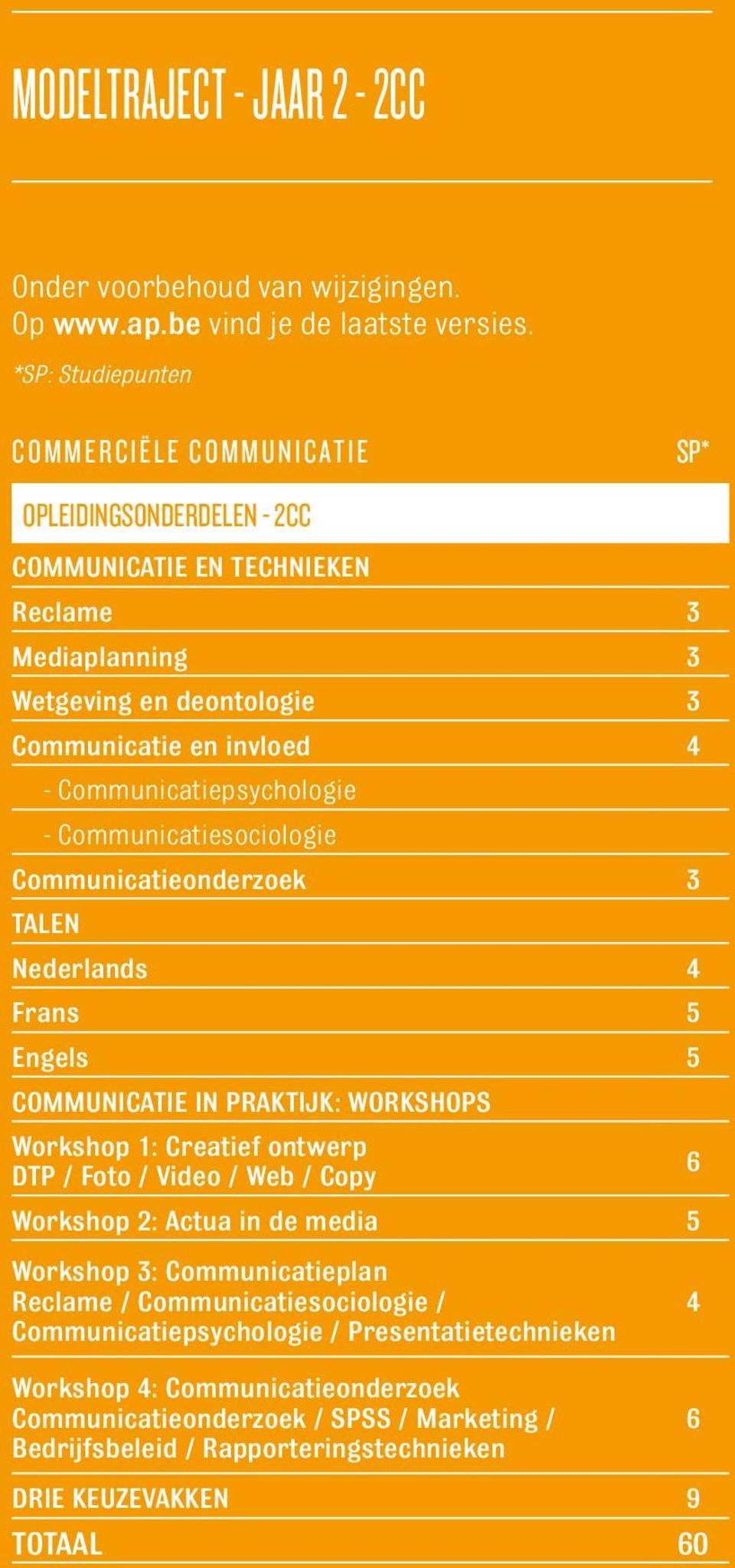 Communicatiepsychologie - Communicatiesociologie Communicatieonderzoek 3 Talen Nederlands 4 Frans 5 Engels 5 Communicatie in praktijk: Workshops Workshop 1: Creatief ontwerp DTP / Foto / Video /
