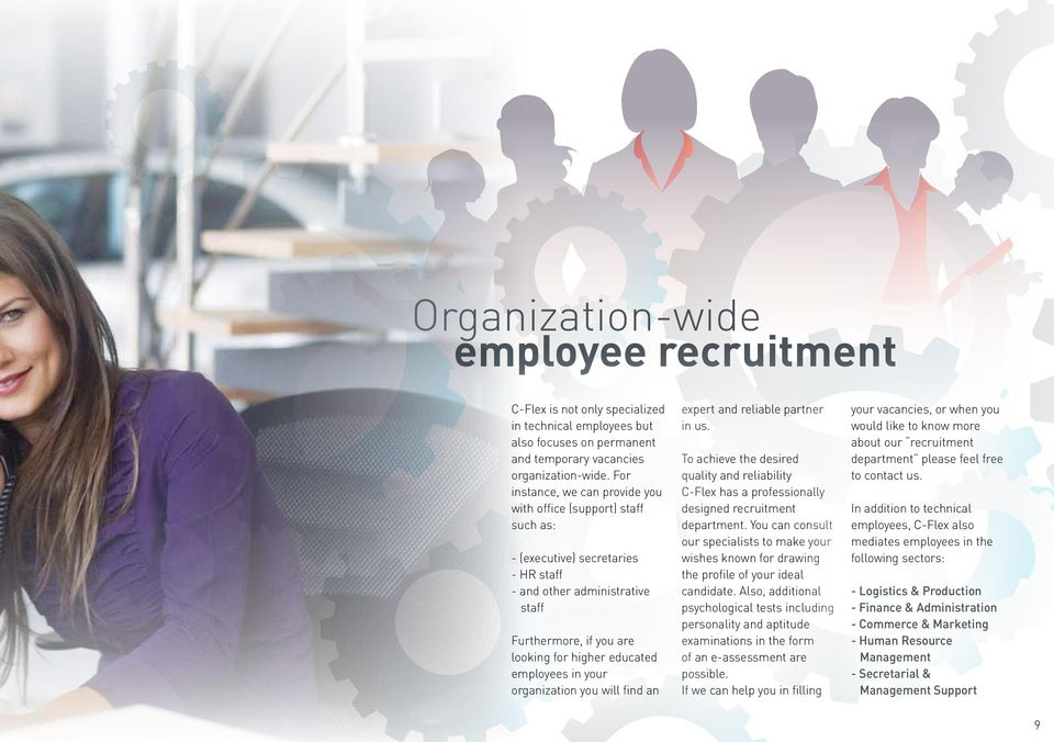 employees in your organization you will find an expert and reliable partner in us. To achieve the desired quality and reliability C-Flex has a professionally designed recruitment department.