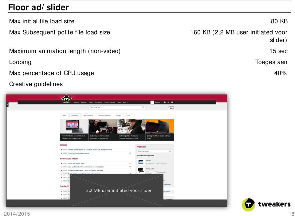 Looping 80 KB 160 KB (2,2 MB user initiated voor slider) 15 sec