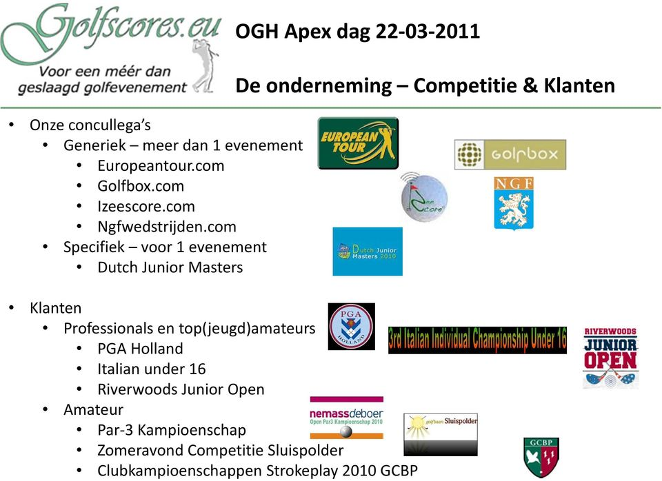 com Specifiek voor 1 evenement Dutch Junior Masters OGH Apex dag 22-03-2011 Klanten Professionals en