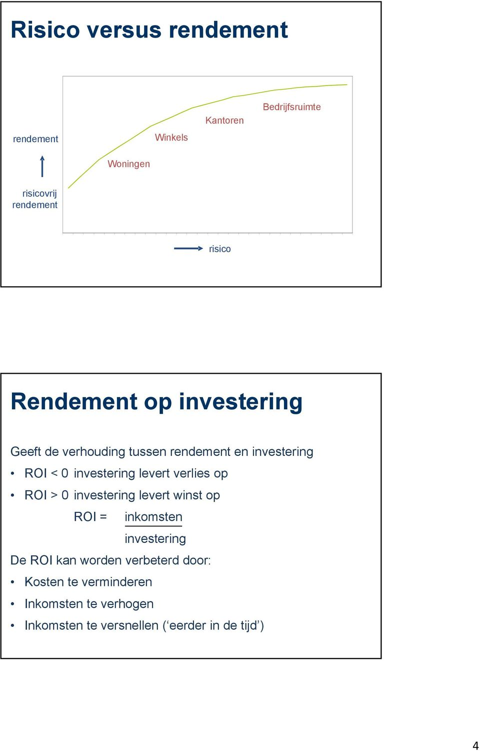 investering levert verlies op ROI > 0 investering levert winst op ROI = inkomsten investering De ROI kan
