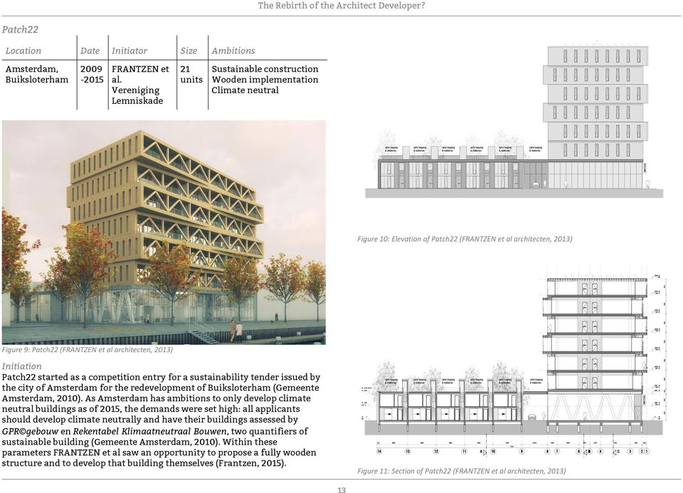 architecten, 2013) Initiation Patch22 started as a competition entry for a sustainability tender issued by the city of Amsterdam for the redevelopment of Buiksloterham (Gemeente Amsterdam, 2010).