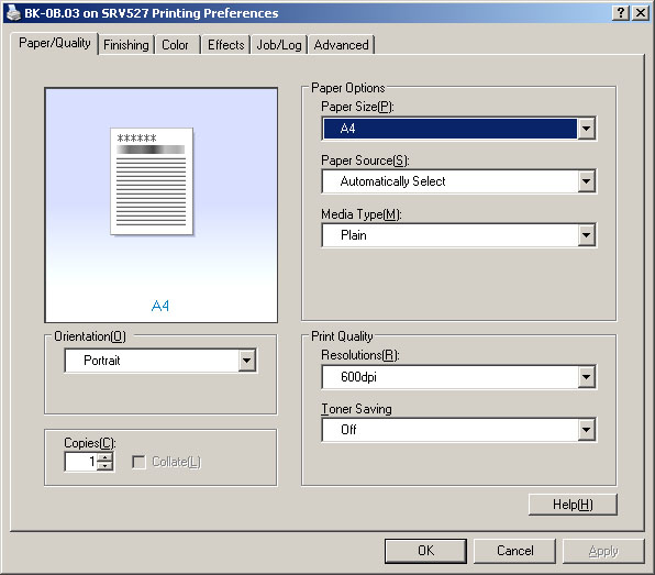 1.2 Afdrukinstellingen 1.2.1 Printerinstellingen opvragen Open via Start het Control Panel en open hier Printers and Faxes : In het Printers and Faxes window, klik met de rechtermuisknop op de