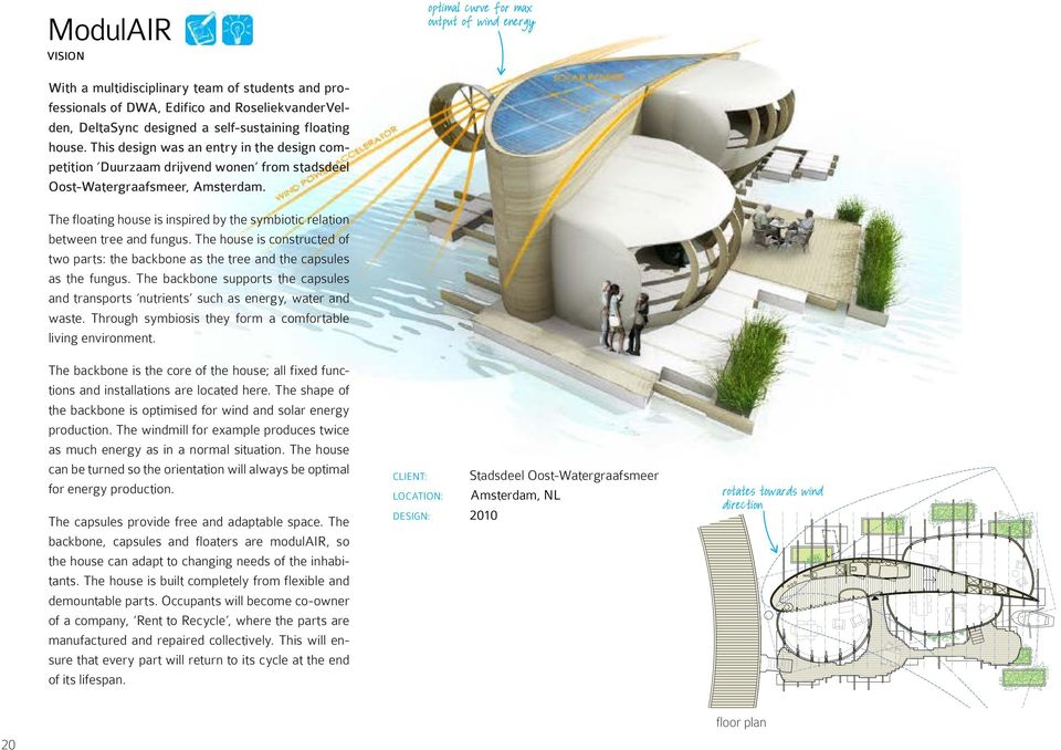 The floating house is inspired by the symbiotic relation between tree and fungus. The house is constructed of two parts: the backbone as the tree and the capsules as the fungus.