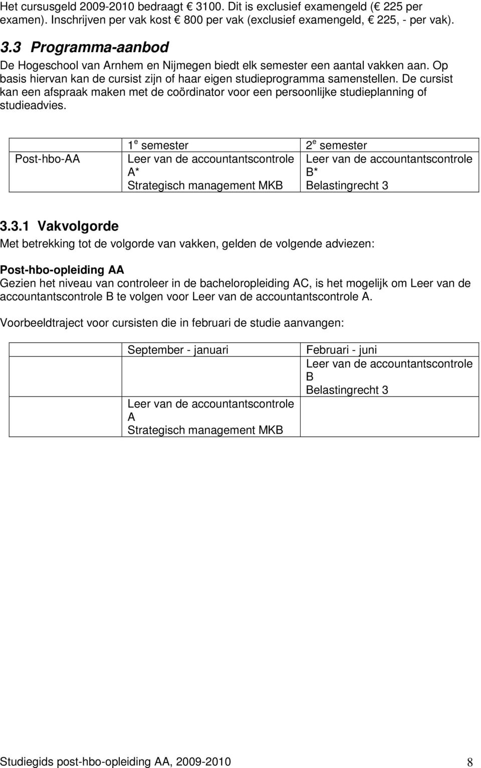 Post-hbo-AA 1 e semester 2 e semester Leer van de accountantscontrole Leer van de accountantscontrole A* B* Strategisch management MKB Belastingrecht 3