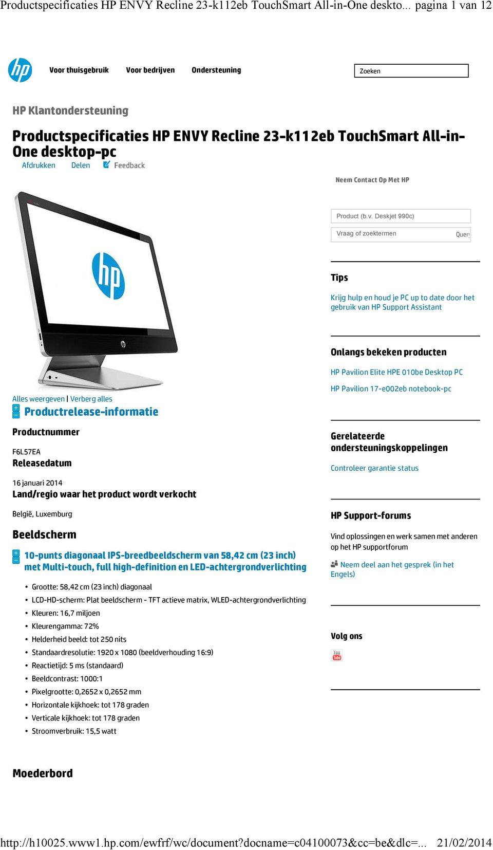Contact Op Met HP Product (b.v.