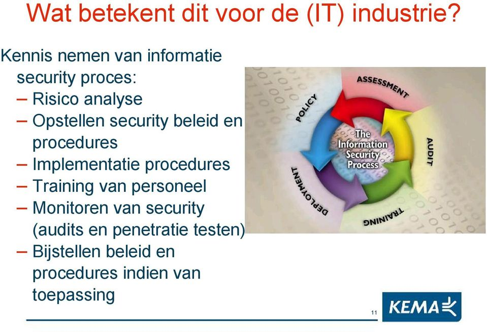 security beleid en procedures Implementatie procedures Training van