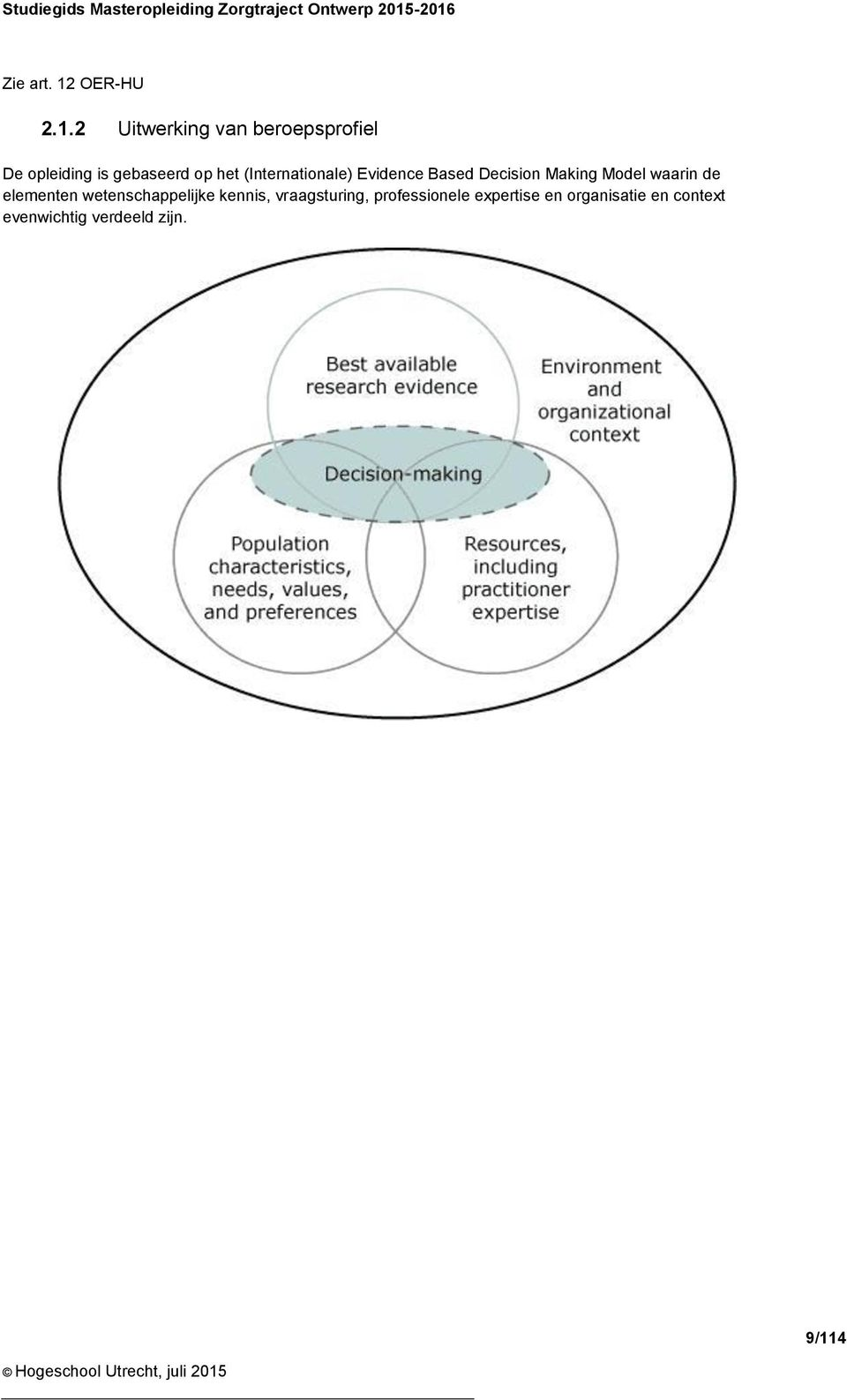 gebaseerd op het (Internationale) Evidence Based Decision Making Model waarin de