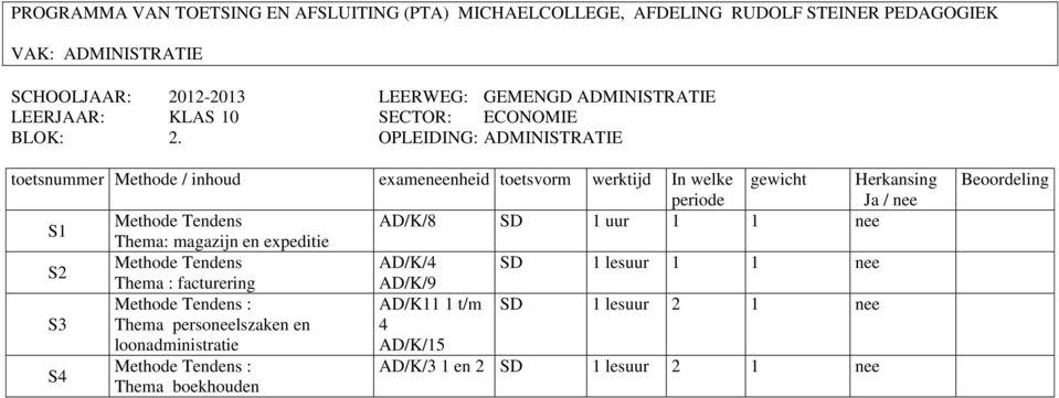 expeditie S2 Methode Tendens AD/K/4 SD 1 lesuur 1 1 nee Thema : facturering AD/K/9 Methode