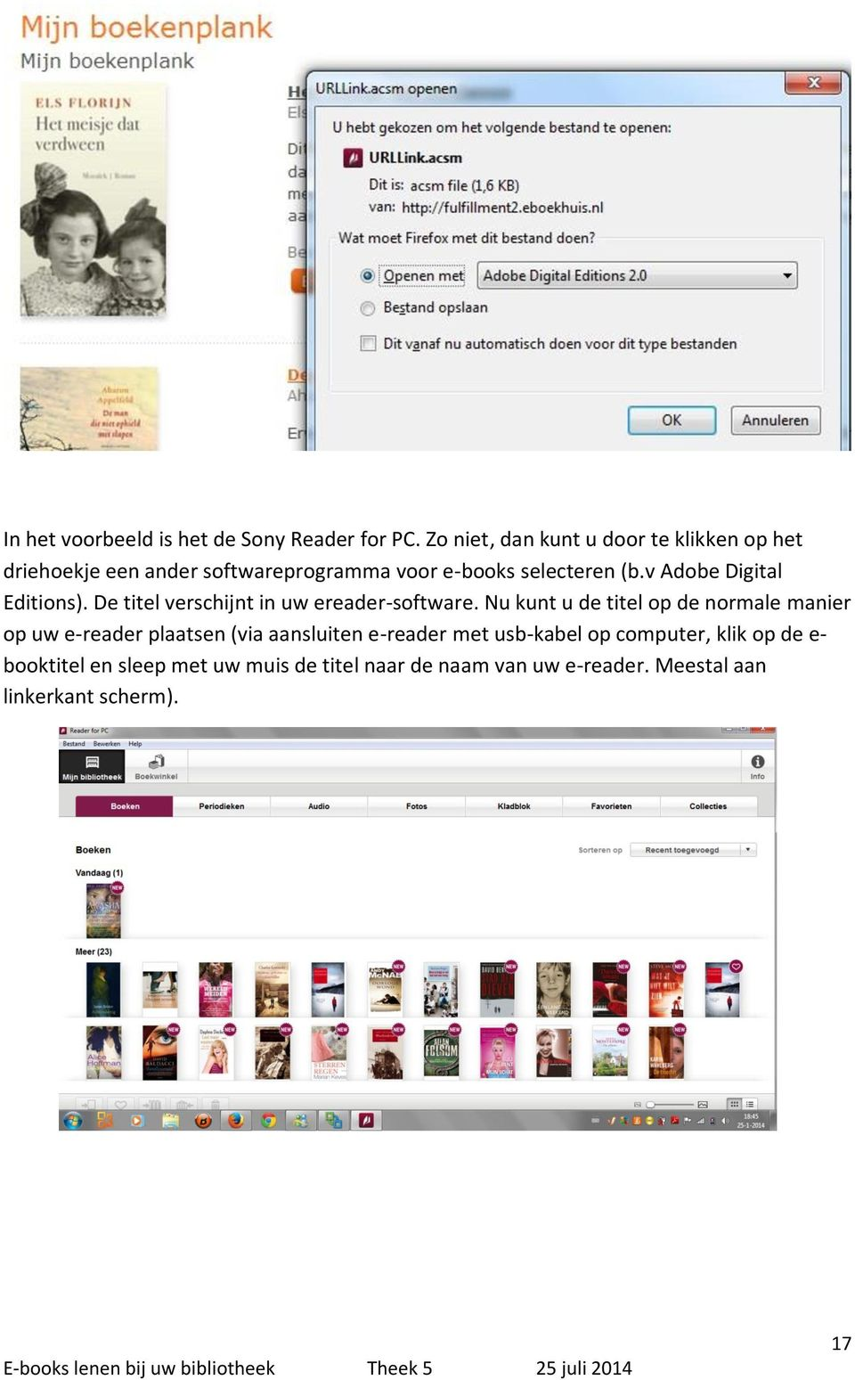 v Adobe Digital Editions). De titel verschijnt in uw ereader-software.