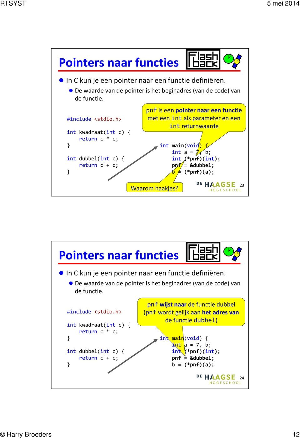 (*pnf)(int); pnf = &dubbel; b = (*pnf)(a); Waarom haakjes?