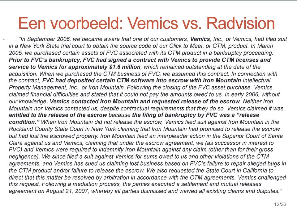 In March 2005, we purchased certain assets of FVC associated with its CTM product in a bankruptcy proceeding.