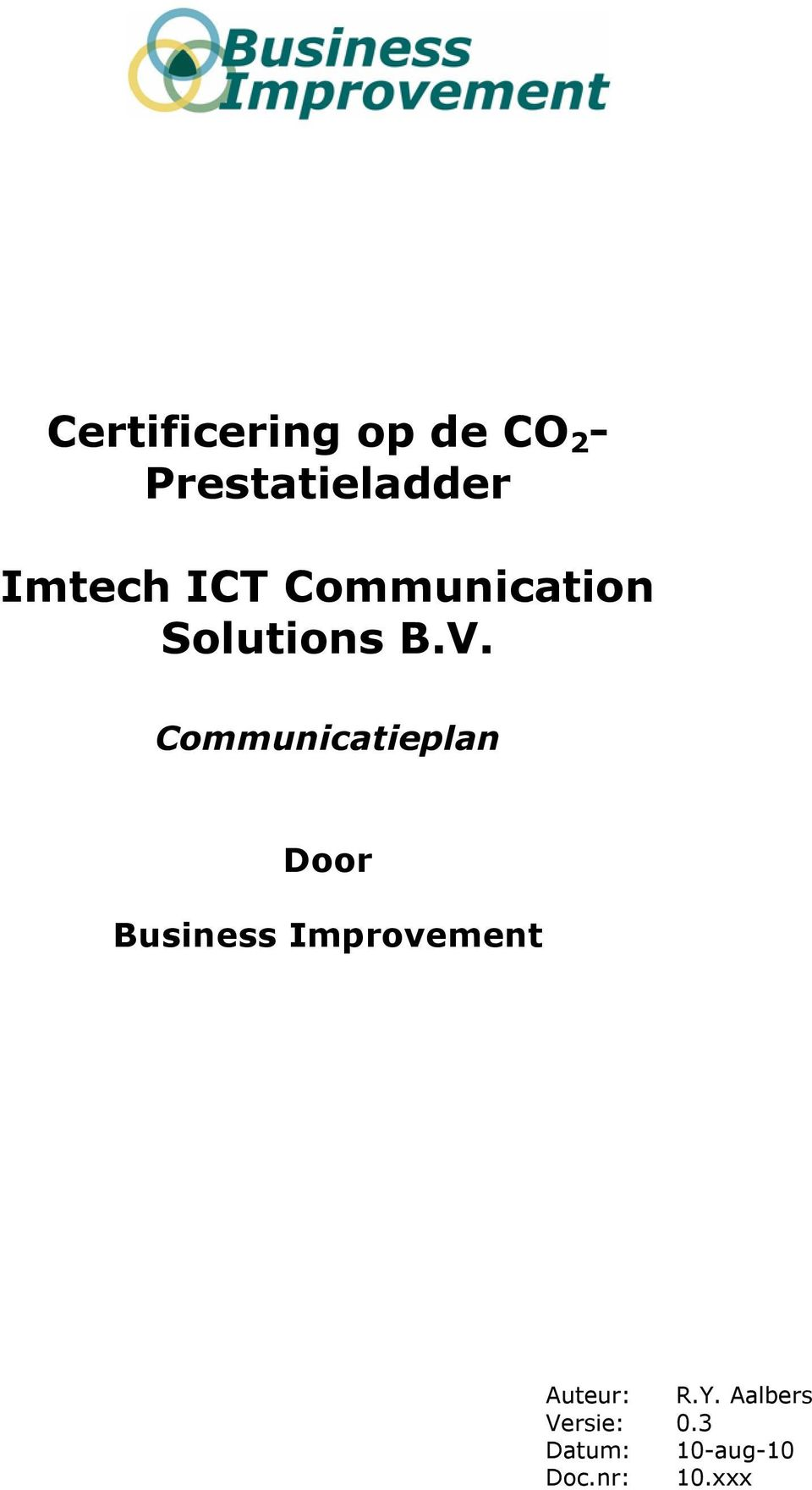 Communicatieplan Door Business Improvement