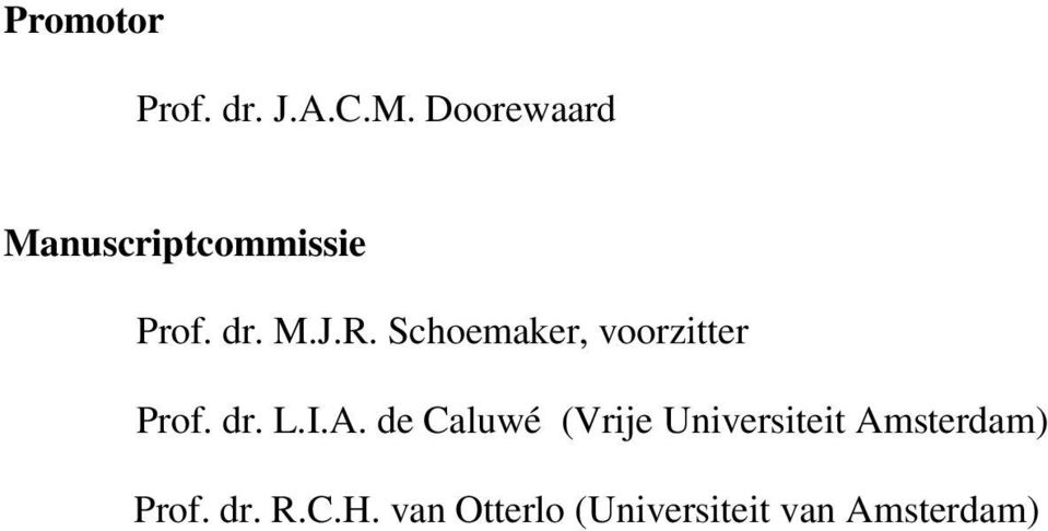 Schoemaker, voorzitter Prof. dr. L.I.A.