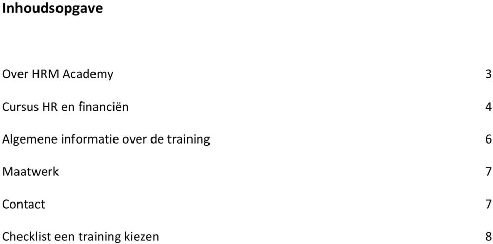 informatie over de training 6