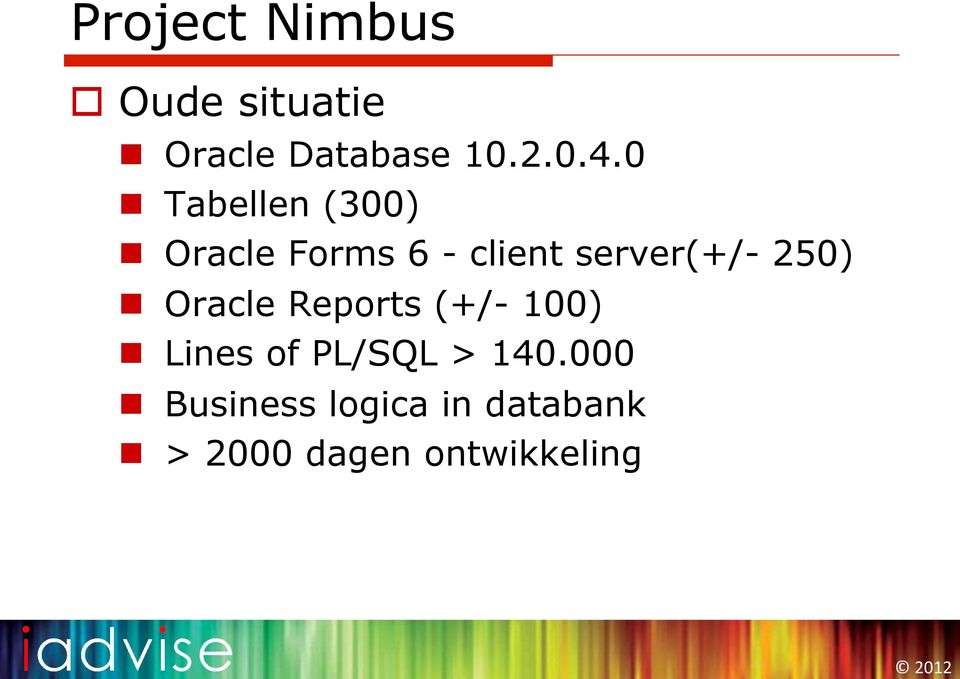 250) n Oracle Reports (+/- 100) n Lines of PL/SQL > 140.