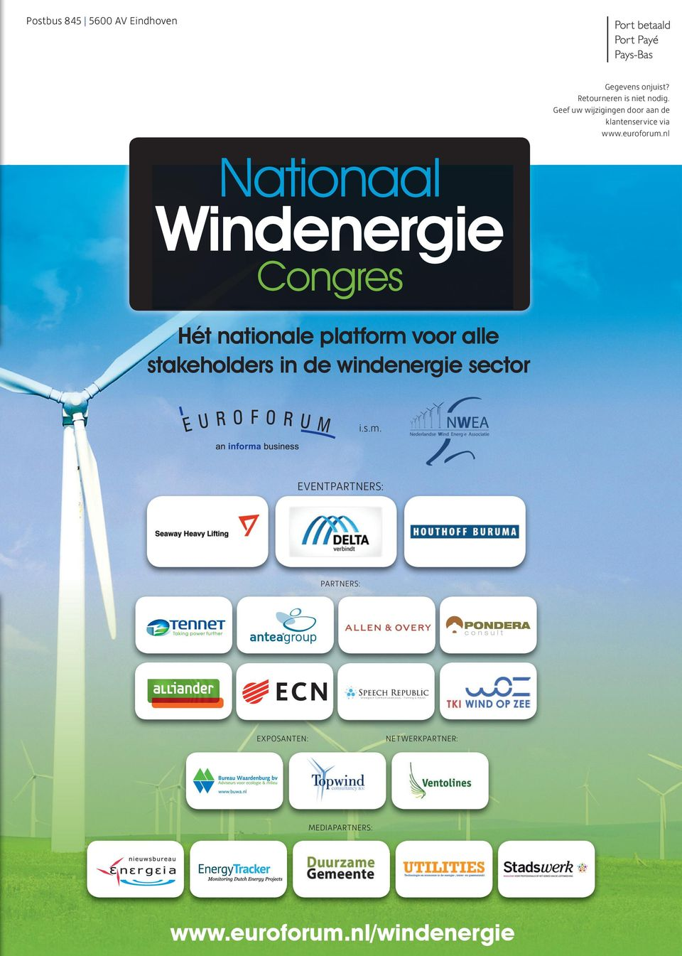 nl Nationaal Windenergie Congres Hét nationale platform voor alle stakeholders