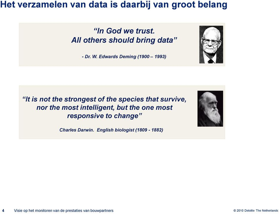 Edwards Deming (1900 1993) It is not the strongest of the species that survive, nor the most