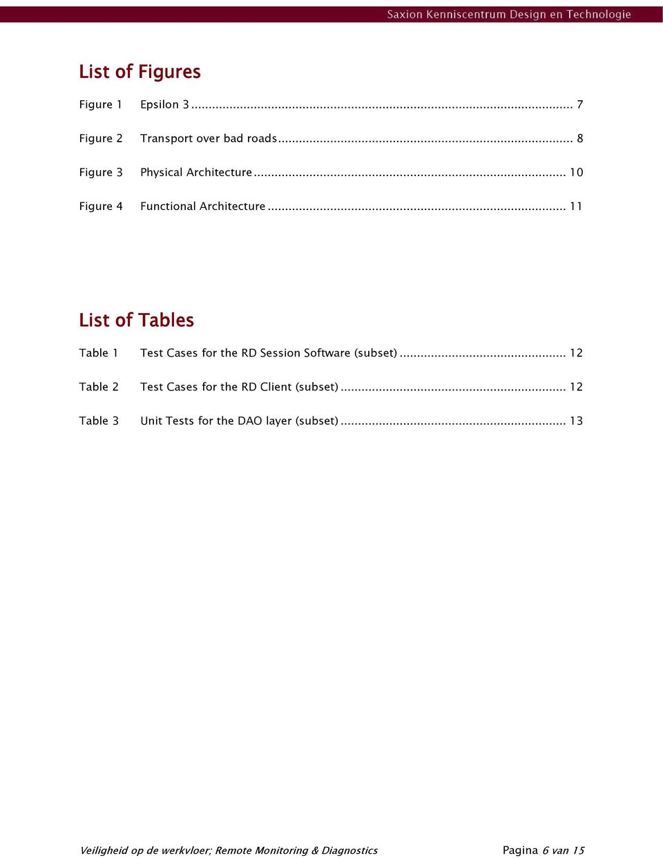 .. 11 List of Tables Table 1 Test Cases for the RD Session Software (subset).
