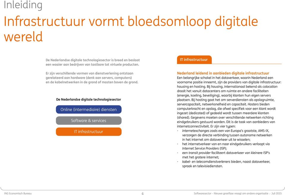 De Nederlandse digitale technologiesector Online (intermediaire) diensten Software & services IT infrastructuur IT infrastructuur Nederland leidend in aanbieden digitale infrastructuur Een