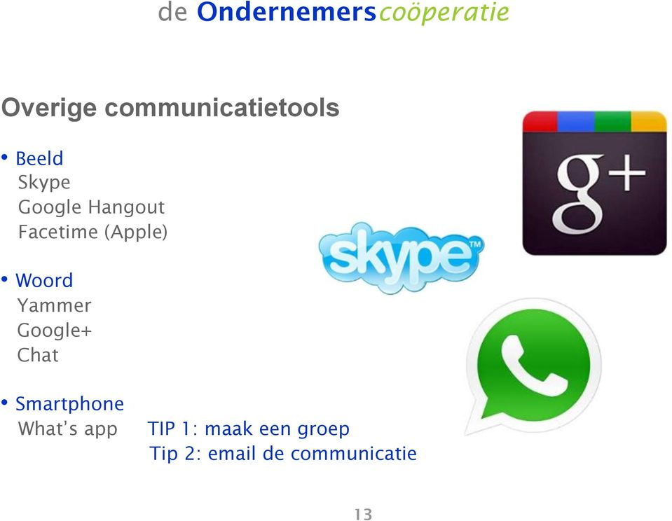 Yammer Google+ Chat Smartphone What s app