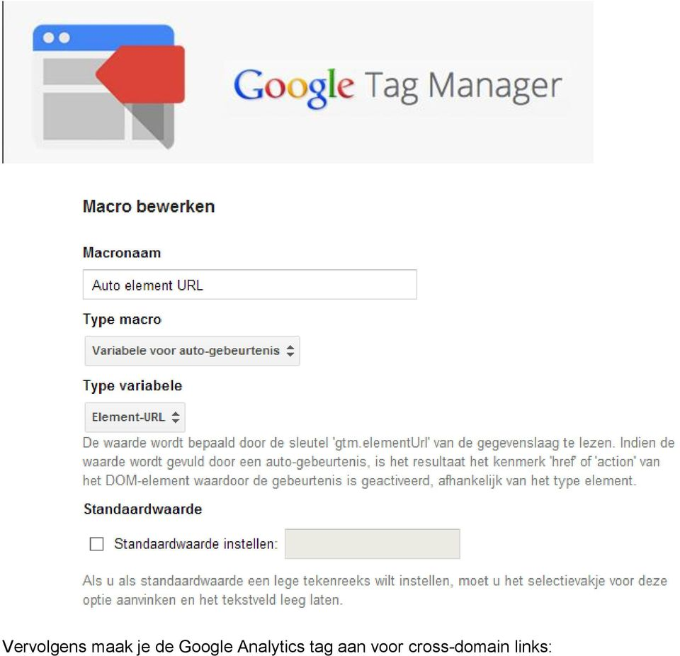 Analytics tag aan