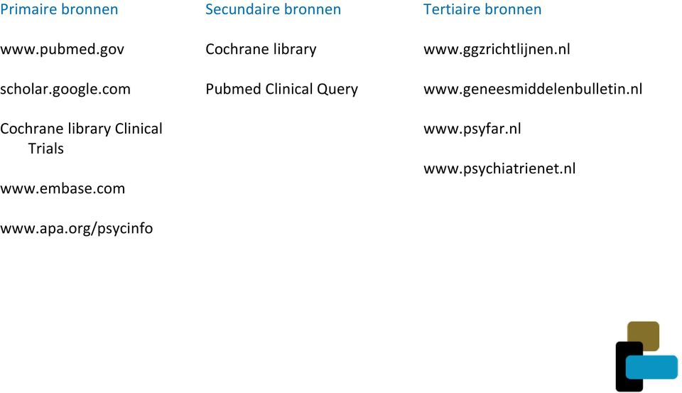 org/psycinfo Secundaire bronnen Cochrane library Pubmed Clinical Query