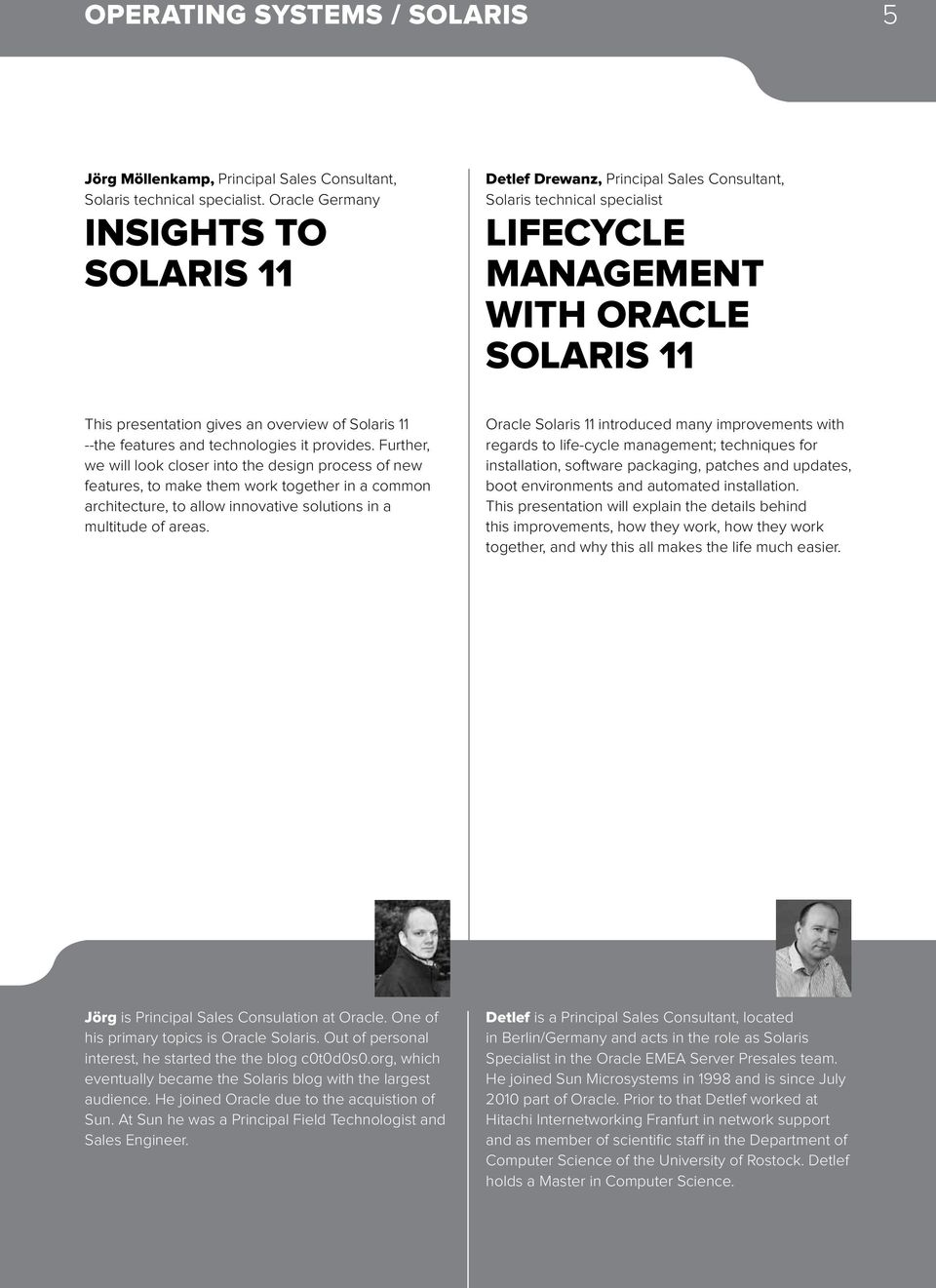Solaris 11 --the features and technologies it provides.