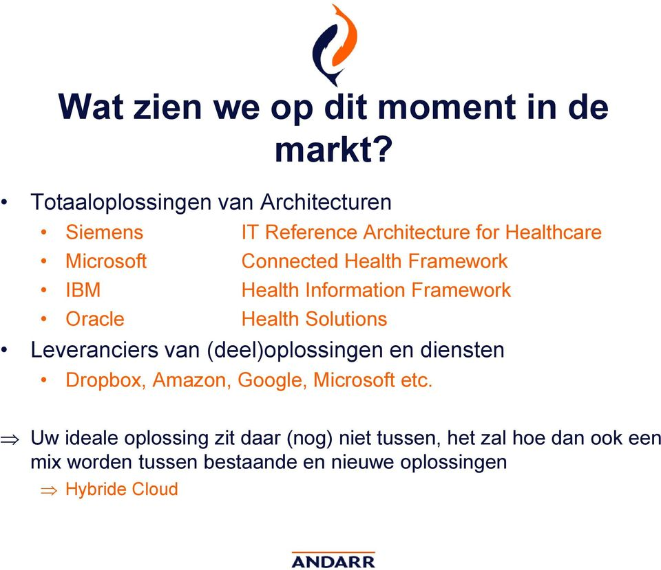 Health Framework IBM Health Information Framework Oracle Health Solutions Leveranciers van (deel)oplossingen