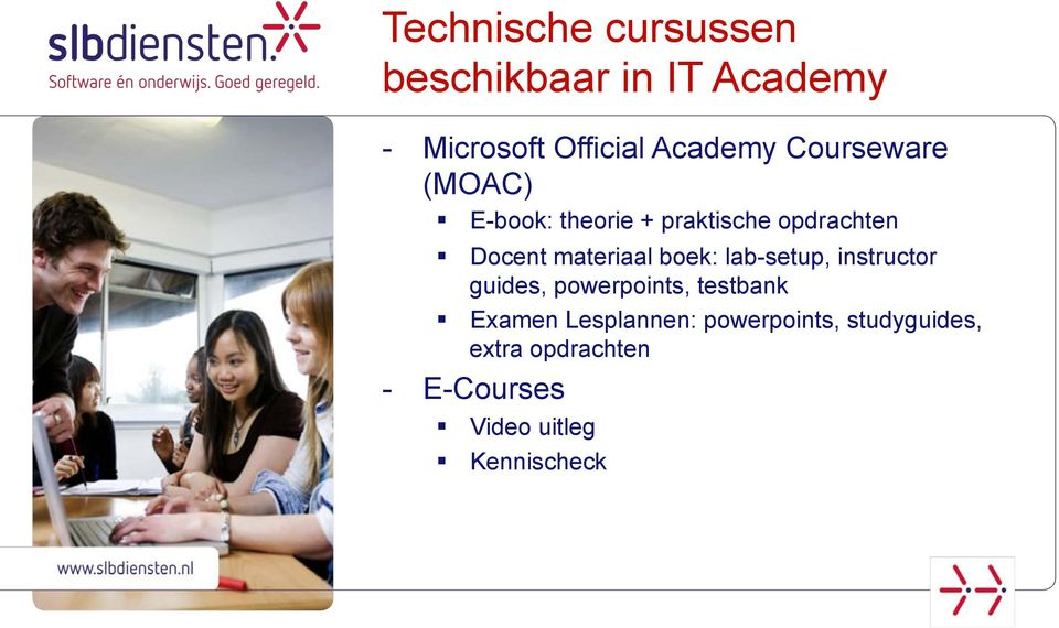 boek: lab-setup, instructor guides, powerpoints, testbank Examen Lesplannen:
