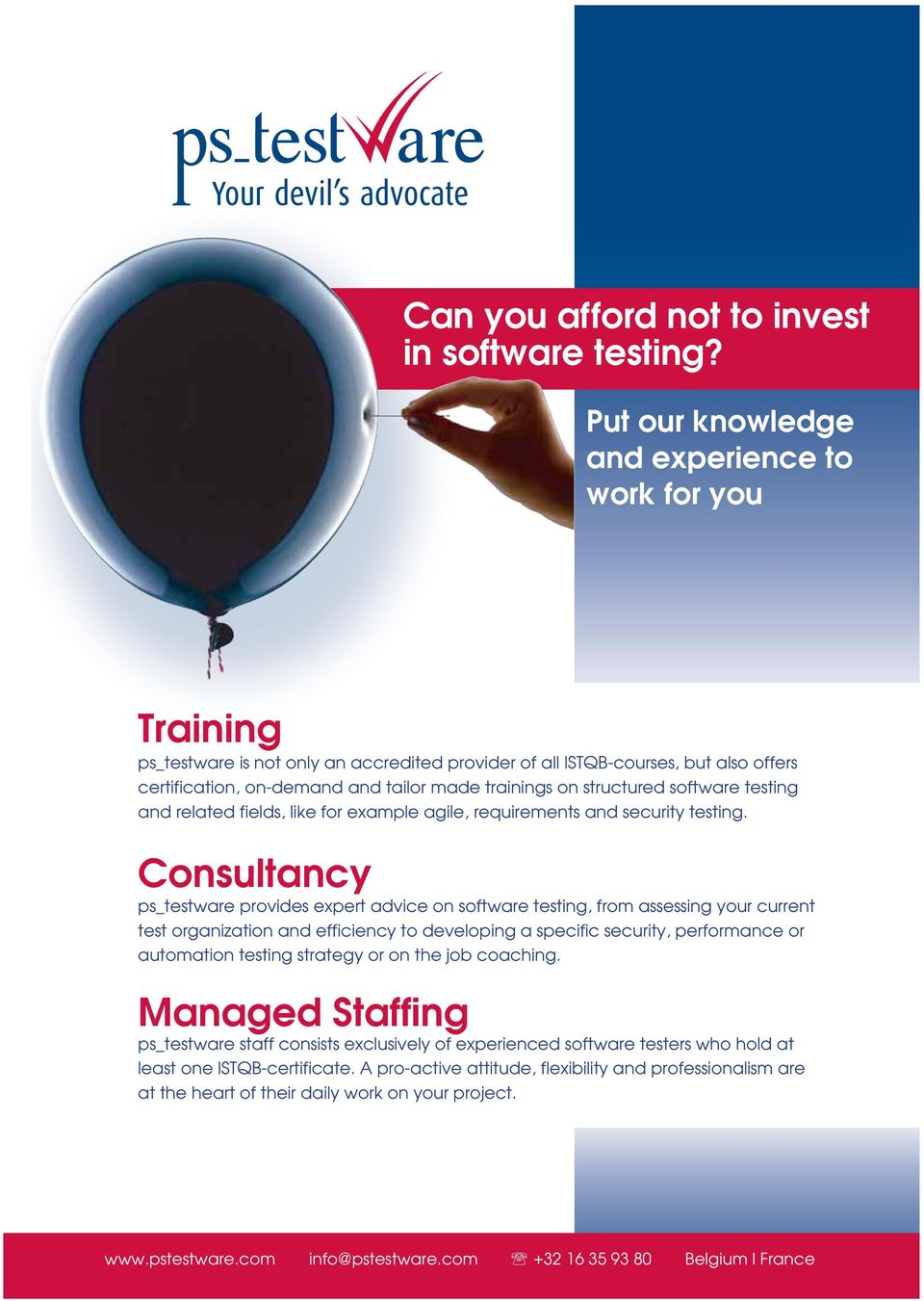 structured software testing and related fields, like for example agile, requirements and security testing.