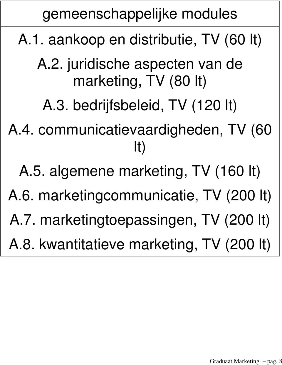 communicatievaardigheden, TV (60 lt) A.5. algemene marketing, TV (160 lt) A.6. marketingcommunicatie, TV (200 lt) A.