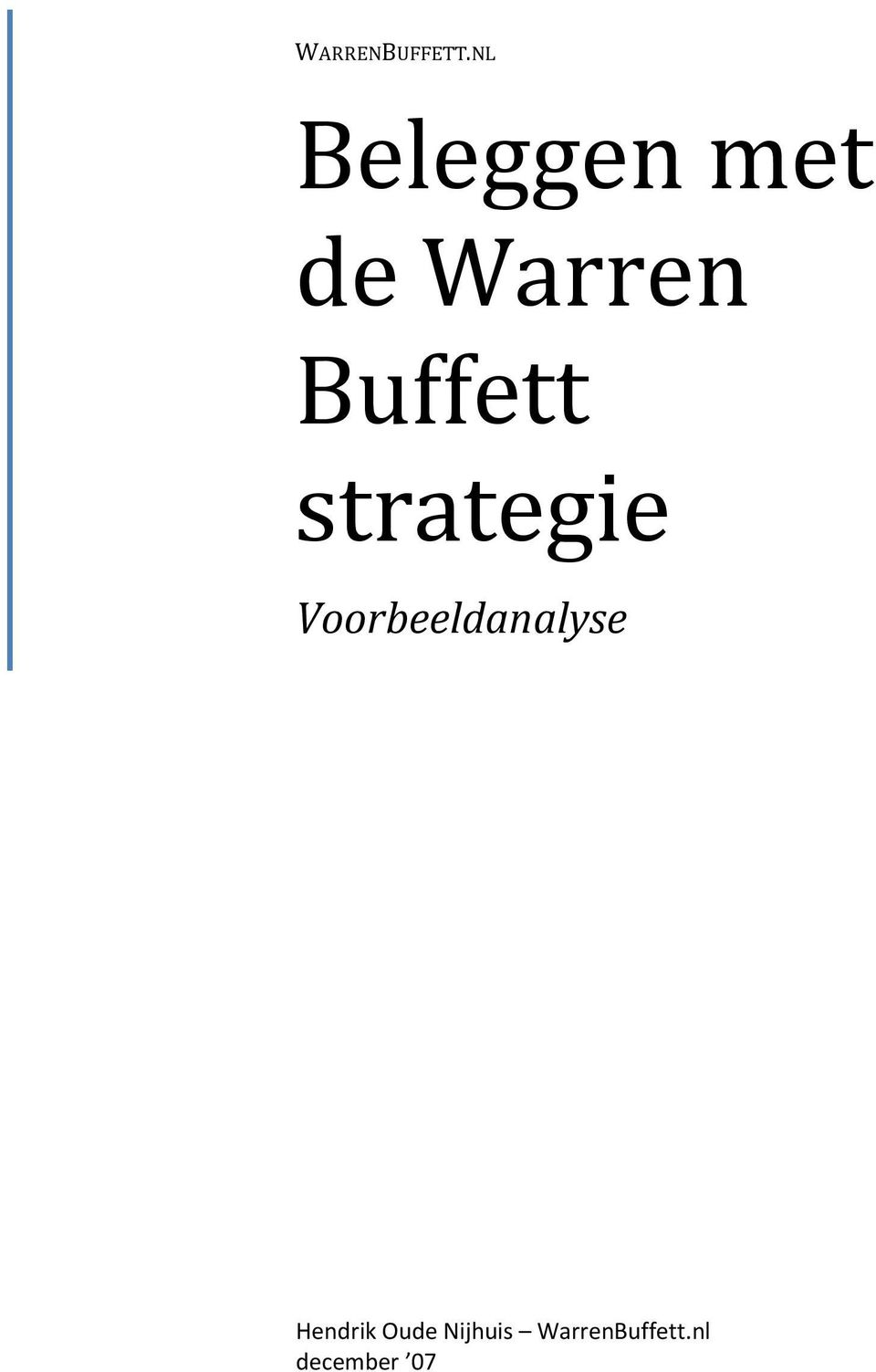 Buffett strategie