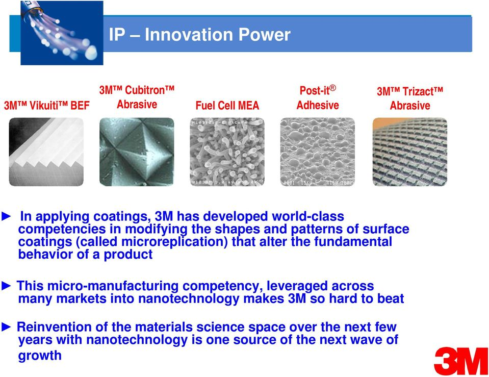 fundamental behavior of a product This micro-manufacturing competency, leveraged across many markets into nanotechnology makes 3M so