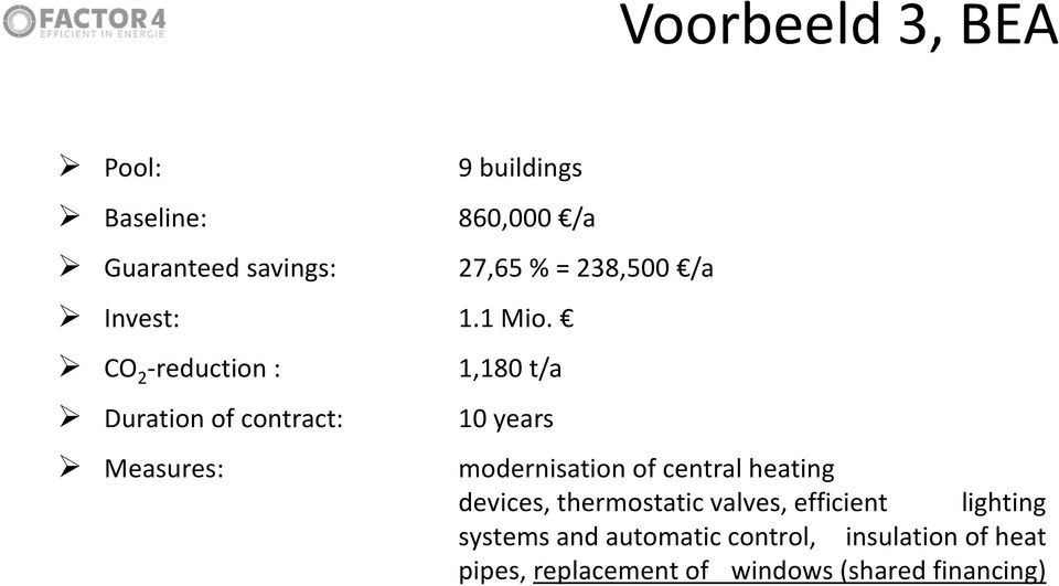 CO 2 -reduction : 1,180 t/a Duration of contract: 10 years Measures: modernisation of