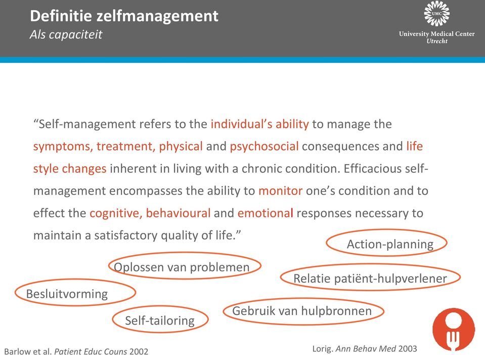 Efficacious selfmanagement encompasses the ability to monitor one s condition and to effect the cognitive, behavioural and emotional responses necessary