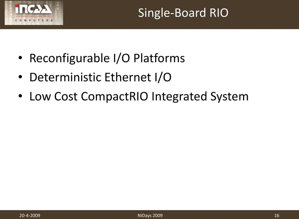 Ethernet I/O Low Cost CompactRIO