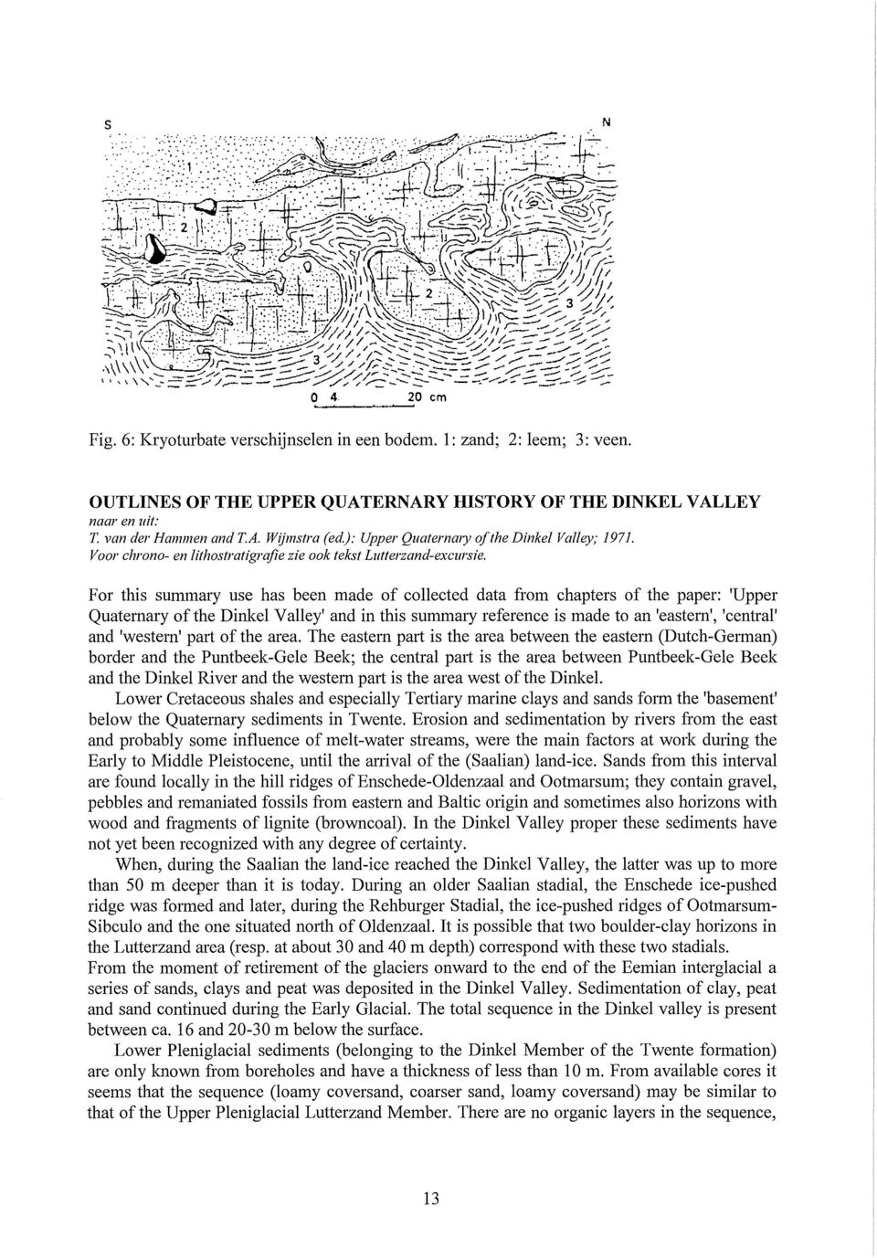 For this summary use has been made of collected data from chapters of the paper: 'Upper Quaternary ofthe Dinkei Valley' and in this summary reference is made to an 'eastern', 'centra!