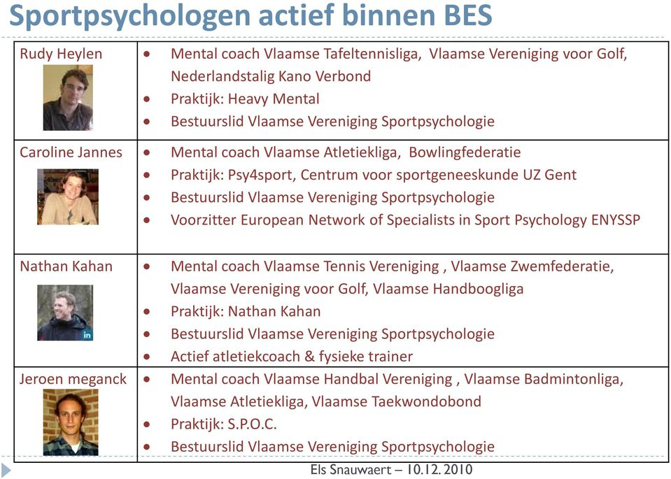 Voorzitter European Network of Specialists in Sport Psychology ENYSSP Nathan Kahan Mental coach Vlaamse Tennis Vereniging, Vlaamse Zwemfederatie, Vlaamse Vereniging voor Golf, Vlaamse Handboogliga