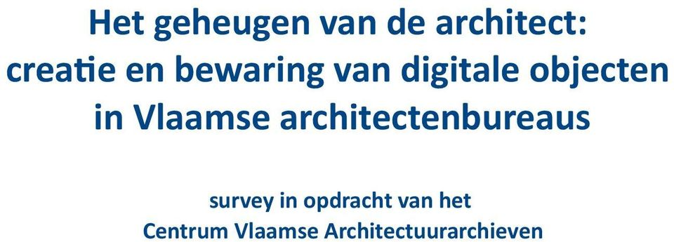 architectenbureaus survey in opdracht van