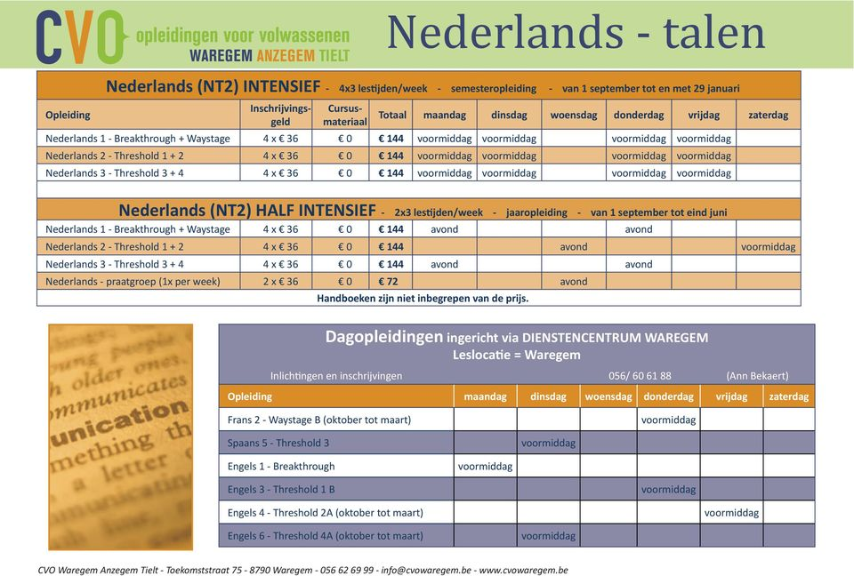 Breakthrough + Waystage 4 x 36 0 144 avond avond Nederlands 2 - Threshold 1 + 2 4 x 36 0 144 avond Nederlands 3 - Threshold 3 + 4 4 x 36 0 144 avond avond Nederlands - praatgroep (1x per week) 2 x 36