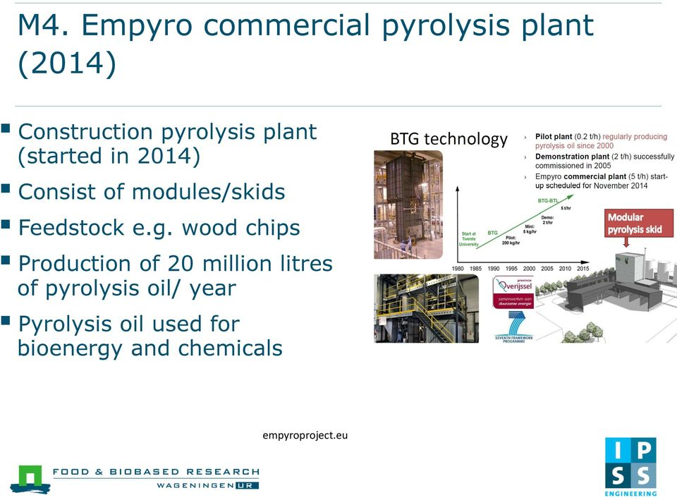 wood chips Production of 20 million litres of pyrolysis oil/ year