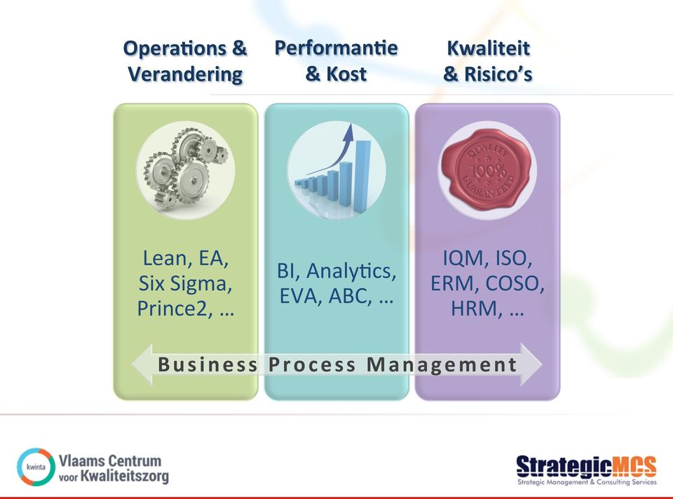 Prince2, BI, Analy2cs, EVA, ABC, IQM, ISO,