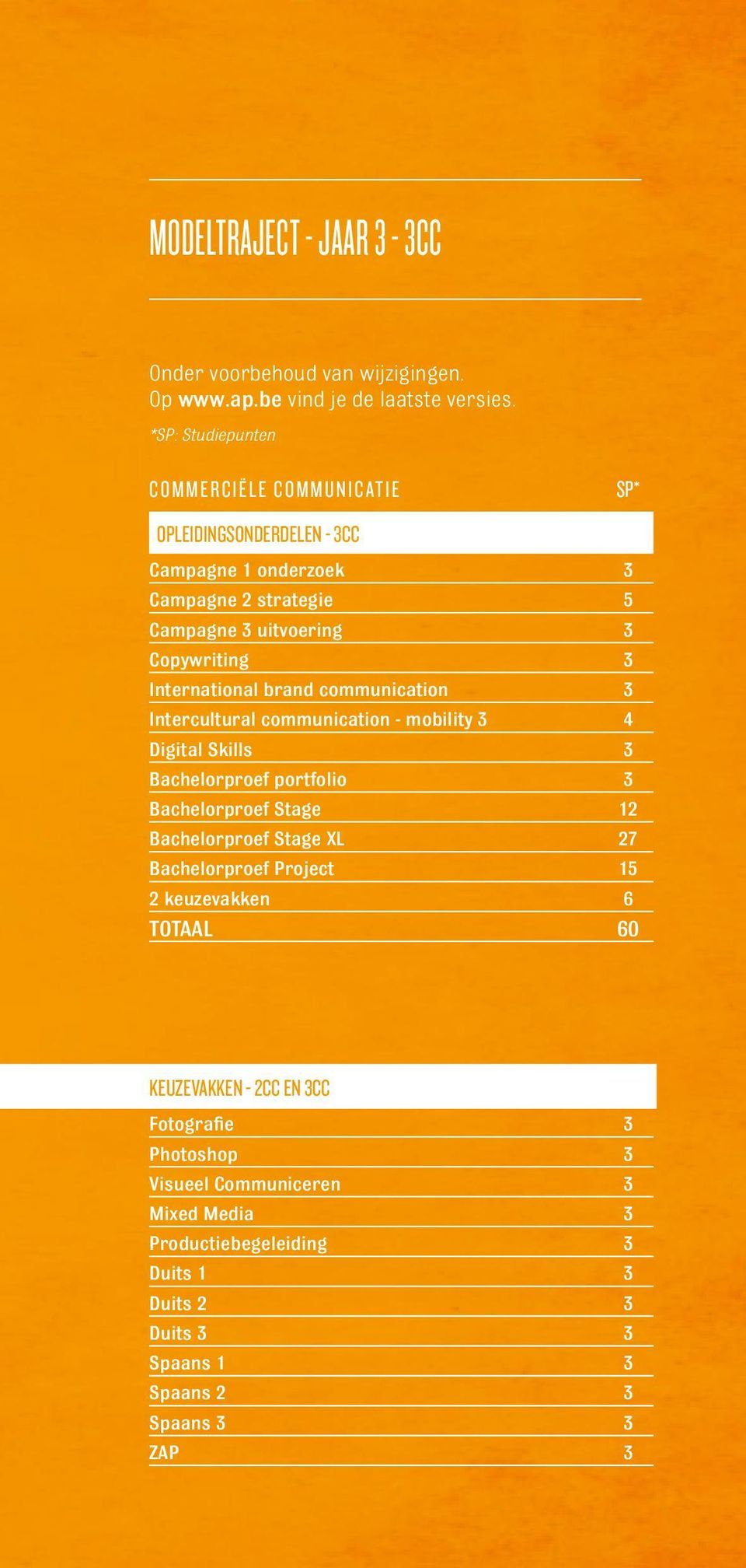 International brand communication 3 Intercultural communication - mobility 3 4 Digital Skills 3 Bachelorproef portfolio 3 Bachelorproef Stage 12 Bachelorproef Stage