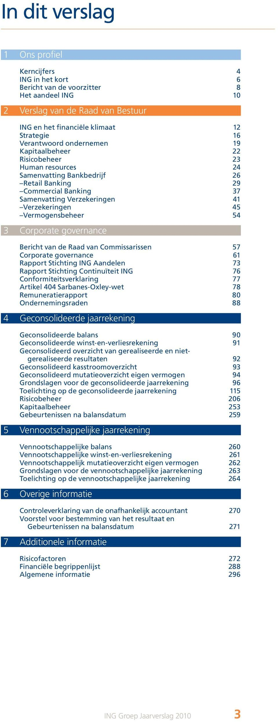 54 3 Corporate governance Bericht van de Raad van Commissarissen 57 Corporate governance 61 Rapport Stichting ING Aandelen 73 Rapport Stichting Continuïteit ING 76 Conformiteitsverklaring 77 Artikel
