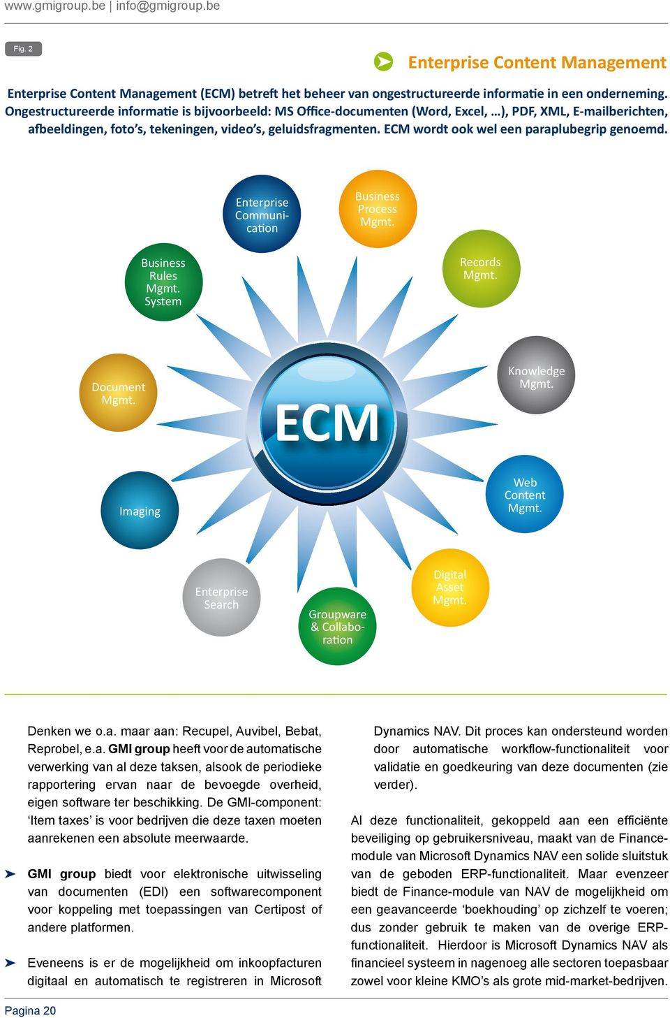 ECM wordt ook wel een paraplubegrip genoemd. Enterprise Communication Business Process Mgmt. Business Rules Mgmt. System Records Mgmt. Document Mgmt. ECM Knowledge Mgmt. Imaging Web Content Mgmt.